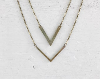 Antique Brass Double Arrow Necklace