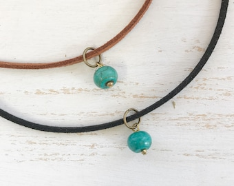 Faux Suede Choker with Turquoise Bead