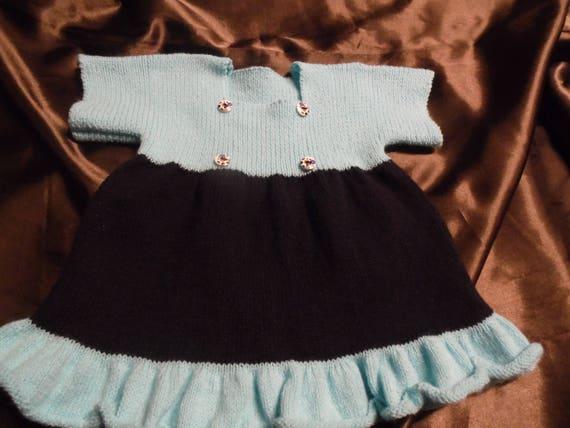 Robe En Tricot Pour Bébé Bleu Marine Et Turquoise Taille 6 Mois