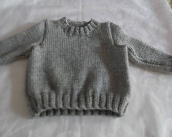 Baby Big Wool Sweater Color Light Grey or Blue Size 12 Months