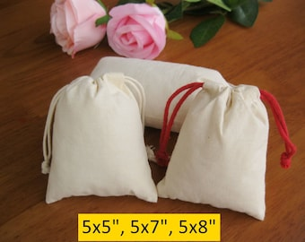 50 Drawstring Cotton Bags 5x5, 5x7, 5x8 Wedding Gift Bags Organza Bags Muslin Bag