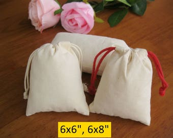 100 Cotton Gift Bags 6x6 Muslin Bags 6x8 Fabric Bags Jewelry Packaging Party Favor Bags