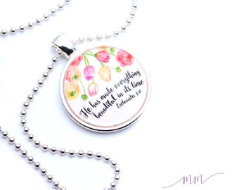 He has made everything beautiful necklace-Glass pendant necklace-Christian Jewelry-Bible verse necklace-Bible verse keychain-Religious gift