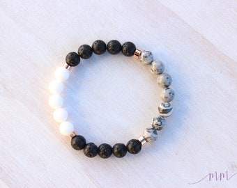 Essential oil diffuser bracelet-CLARITY-Grey Map Jasper, White Onyx beads, Lava and Rose gold-Lava rock