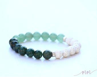 Essential oil diffuser bracelet-Moss Agate, Green Aventurine & White Lava bracelet-STABILITY-ABUNDANCE-CALM-Aromatherapy Jewelry-Lava Rock
