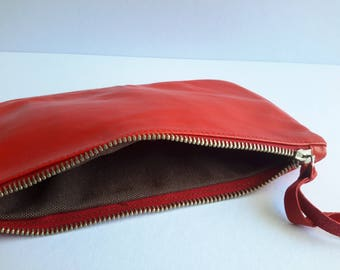 Red Purse, Leather Pouch Bag, Zipper Pouch, leather wallet purse, leather wallet, leather pouch, small leather purse, cosmetic bag