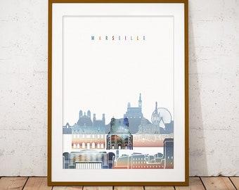 Marseille France Skyline Vinyl Wall Decal or Car Sticker SS120ET