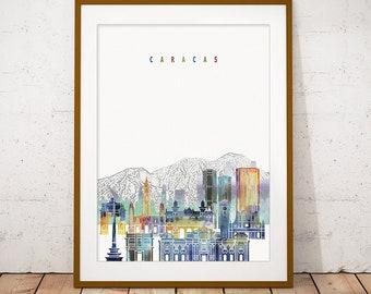 Caracas Print, Skyline Watercolor Art Print, Poster, Modern Wall Art, New Home, Housewarming Gift, Digital Download