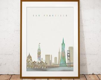 San Francisco Print, Skyline Art Print, Poster, Modern Wall Art, New Home, Housewarming Gift, Digital Download