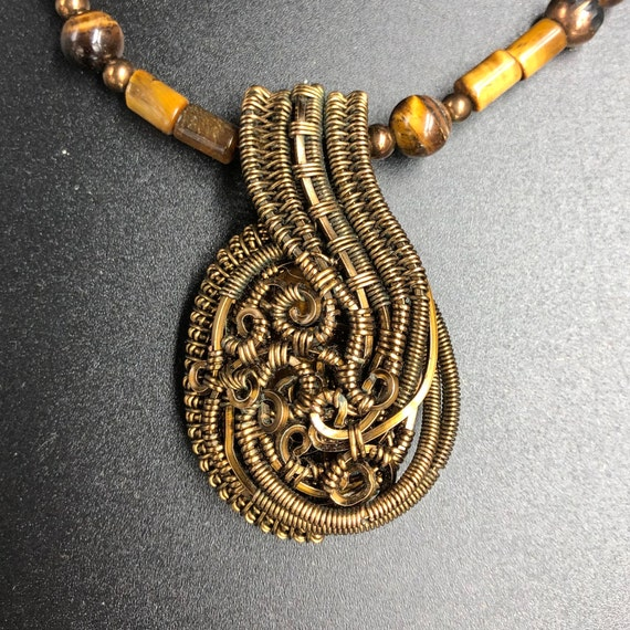 Mother of pearl wrapped in copper wire pendant with 18 inch rose antique bronze chain