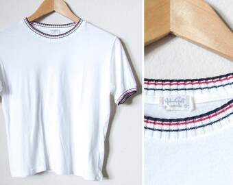 84c749c033c3d John Galt Cropped T Shirt SZ S- White w  Striped Collar and Sleeves