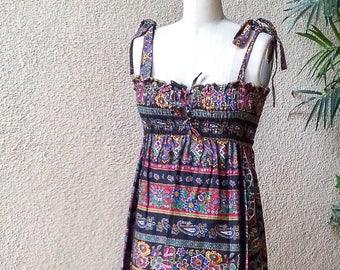 Vintage Hippie Dress XS, Bohemian Style, Sun Dress, Festival Dress, Boho Chic, Hippie, Ethnic Dress, Sleeveless Dress, Gypsy Festival Dress