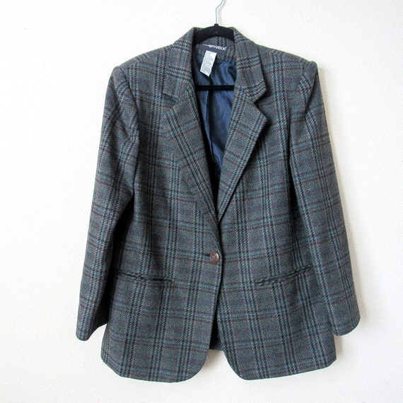 VINTAGE Classic Wool Plaid Blazer Jacket Sag Harbo
