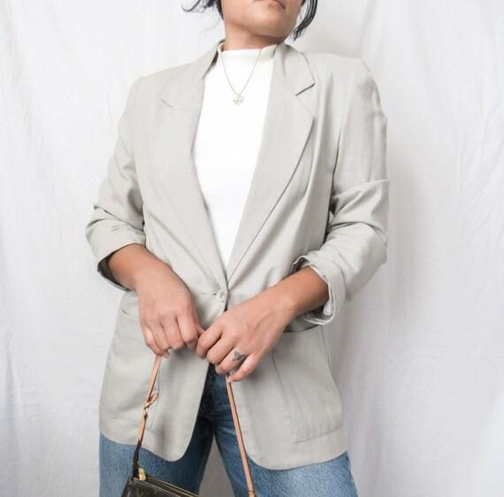 VINTAGE 1990s Grey Minimal Linen Blazer Suit Jacke