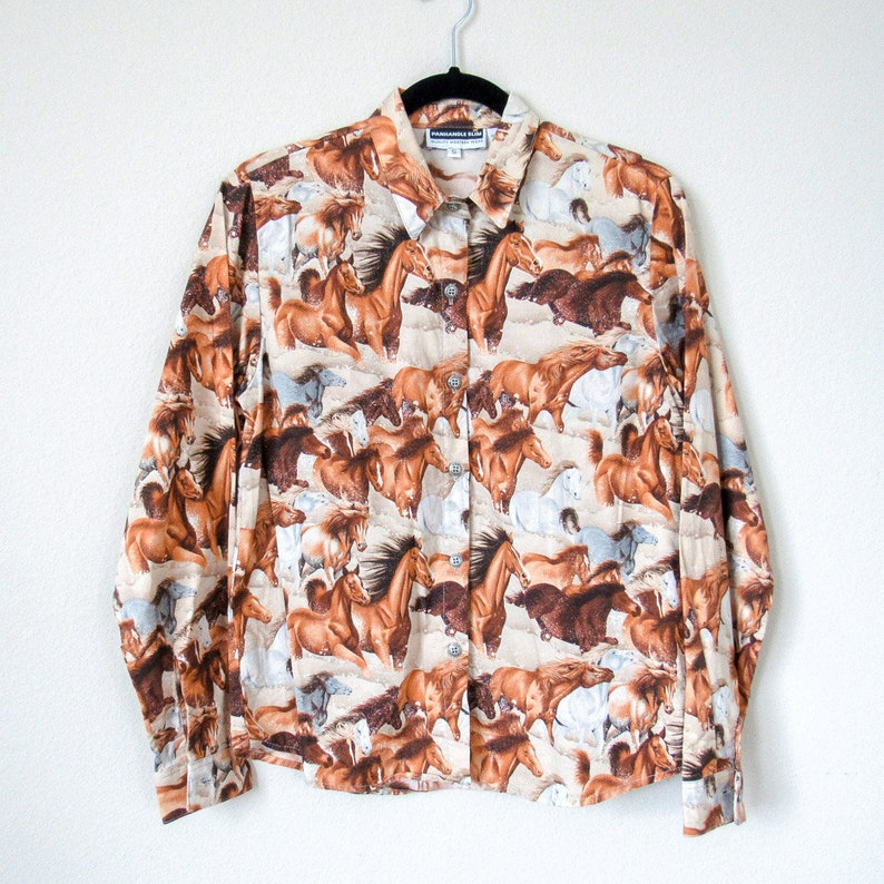 Vintage Boho Western Button Up Horse Graphic Shirt Country Shirt VINTAGE Western Horsey Button Up Long Sleeve Shirt Size S