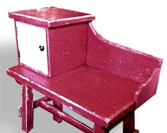 Vibrant Shabby-chic orange and teal phone table/seat