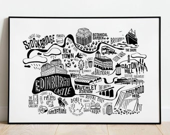 EDINBURGH Map Print. City Original illustration. City Guide Map print. Maps. SCOTLAND Print. Black and White paper wall art