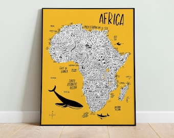 Africa Map wildlife original illustration. Geography illustrated map. African nature poster for children. Kids room decor back to school