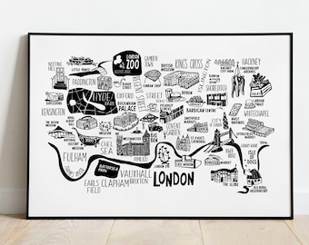 London City Map Print. Buy the Illustrated Map of London for a travel original decoration. England. London Artwork UK Map. Black and white