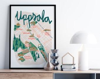 UPPSALA Sweden Illustrated City Map Print. Swedish gifts. Handletter Original illustration. City Guide Map print. Travel Map. SWEDEN. Maps