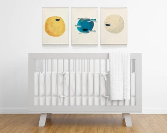 Set of 3 panels solar system for nursery room. The sun, the moon and the planet earth set of prints for newborn gift giving
