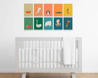 Rainbow nursery decor for an animal themed room. Colorful prints for kids room decor. Art for kids Wall decor.