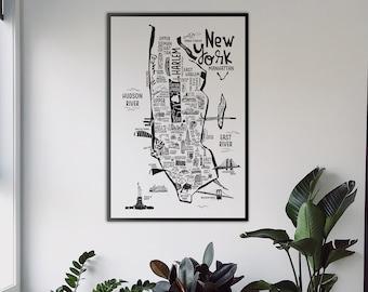 NEW YORK CITY Map Print. City Original illustration. City Guide Map print. Maps. United States Print. Nyc maps.