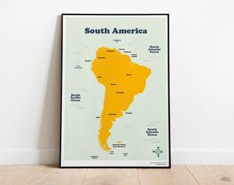 Map of latin america | Etsy