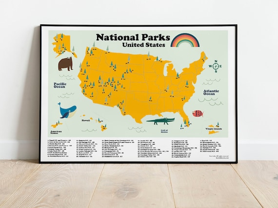 United States Map for homeschool. Poster for kids playroom with all the  states names. Ready to frame children learning map. Geography maps