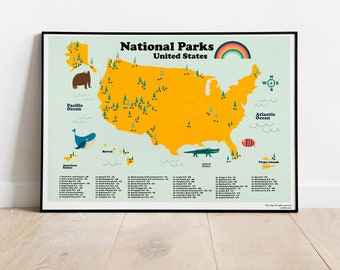 National Parks United States Map for homeschooling. Instant Download in 5 ratios. Back to school poster Ready to frame for kids room decor