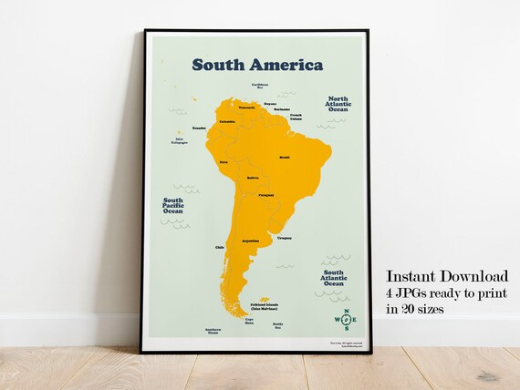 South America Printable Map For Kids Homeschool Latin America Etsy