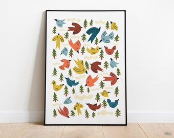 Bohemian autumn printable for kids room decor. Modern color palette for playroom. Toddler boho room print at 20x27 in. Instant download