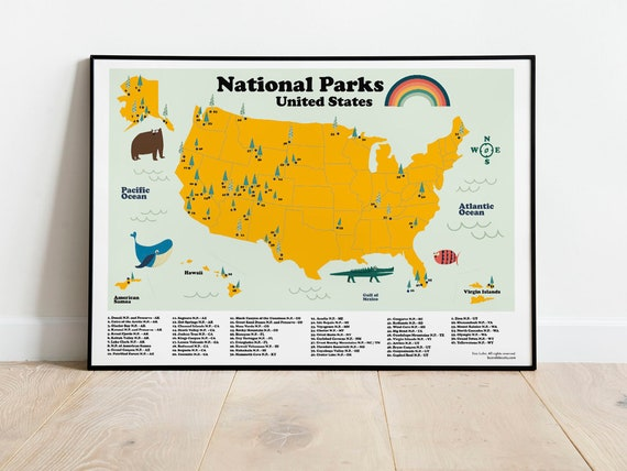 National Parks Map of United States, Homeschool USA National Park print.  Educational poster for kids room decor. Children homeschool prints