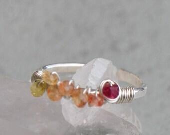 Silver ring 925 ring Songea Sapphire and genuine Ruby - pink orange gemstone ring - engagement ring designer - Christin Piedra