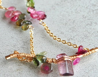 Necklace chain watermelon Tourmaline 14 k - gold filled 14K pink green tourmaline necklace - Choker gemstone 14K rose gold