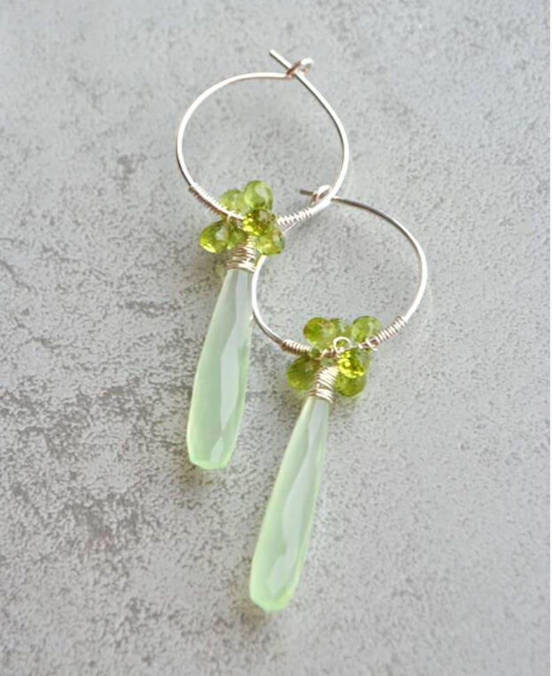 P\u00e9ridot Calc\u00e9doine Silver 925 earrings
