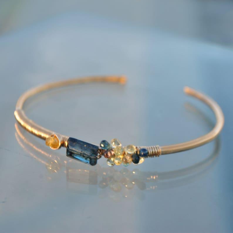 14K gold Cyanite and Sapphire bracelet