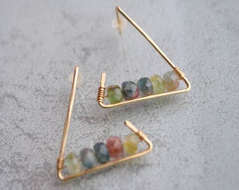 Watermelon Tourmaline gold filled dangle earrings triangle - graphic jewelry - gift for her-earrings