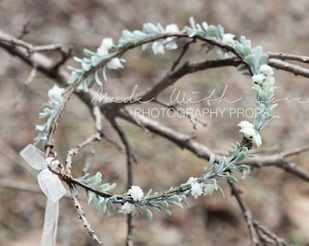 Baby's Breath Crown, Flower Girl Crown, Flower Crown, Bridal Flower Crown, Greenery Crown, Bridesmaid Flower Crown, Wedding Greenery Crown