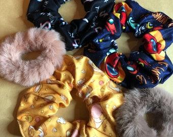 Cute fuzzy fur, crewmate sus, lazy egg, note scrunchies