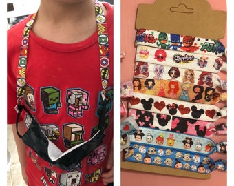 Character cartoon inspired pattern elastic ribbon face mask lanyards, holder, necklace with snap buttons