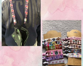 NEW patterns cartoon character inspired elastic ribbon face mask lanyards, holder, necklace with snap buttons