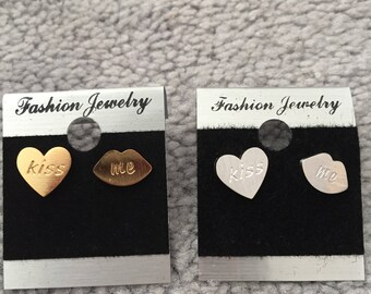 Kiss Me Stud Earrings (Gold, Silver & Rose Gold)