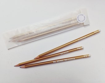 Three Beyonce gold and whitepencils : Be More Beyonce; I Slay; Queen. Congratulations. Good luck gift. Gifts for girls.  Party bag.