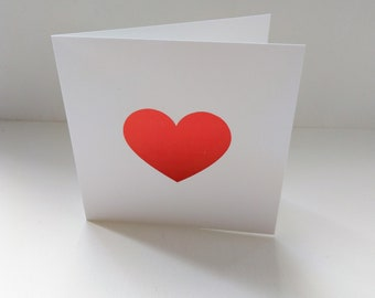 Red foil printed heart  card.  Valentines Day card.  Wedding card.  Engagement card.  Congratulations.  I love you.