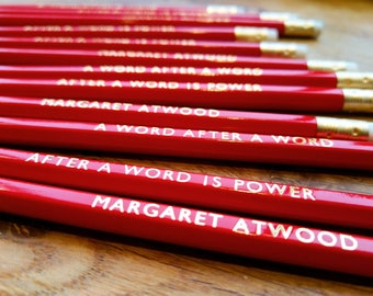 Set of 3  Margaret Atwood pencils.  A word after a word after a word is power. Feminist gift. Working from home inspiration. WFH.