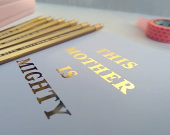 This Mother is Mighty / Queen gold pencils in pink box with No 1 Mum sticker and matching This Mum is Mighty card
