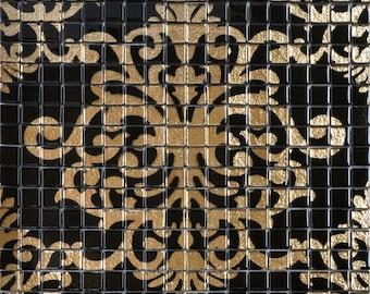Gouden Mozaiek Tegels : Zwarte peel en stick tegels lijm mozaïek tegel backsplash etsy