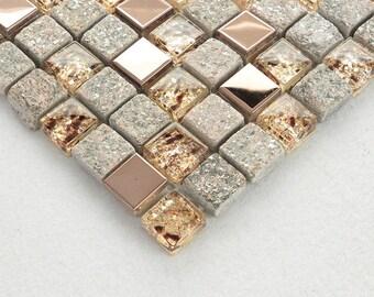 Grau Und Rose Gold Küche Aufkantung, Glas Und Edelstahl Mosaik Fliesen,  Naturstein U0026 Metall Bad Wand Fliesen, Dusche Akzent Fliese