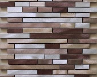 Brushed Interior Aluminum Wall Tile Backsplash Silver Brown and Gold Metallic Interlocking Random Metal Mosaic Tiles